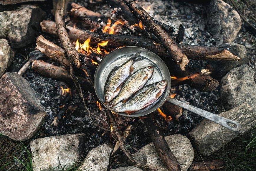 Vida Press nuotr./Ant laužo kepama žuvis