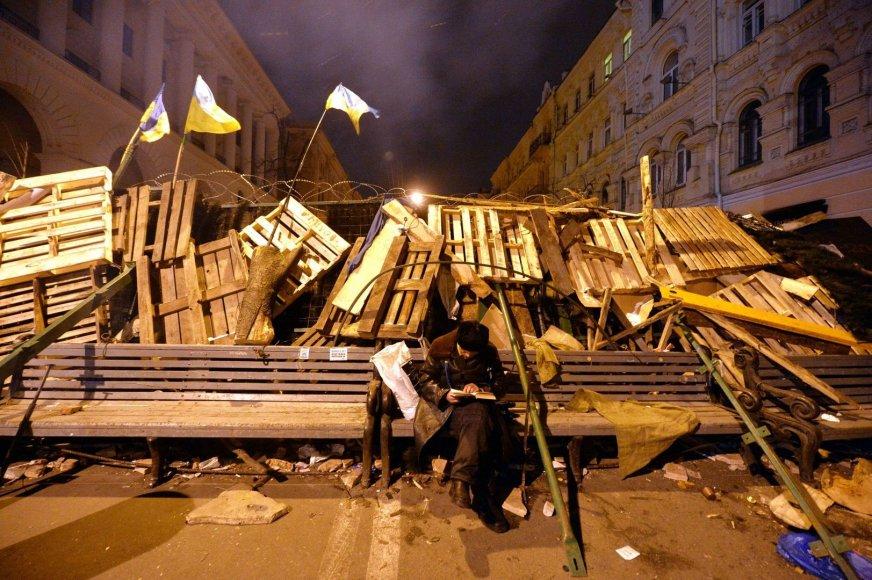 Protestuotojas skaito knygą Kijevo centre