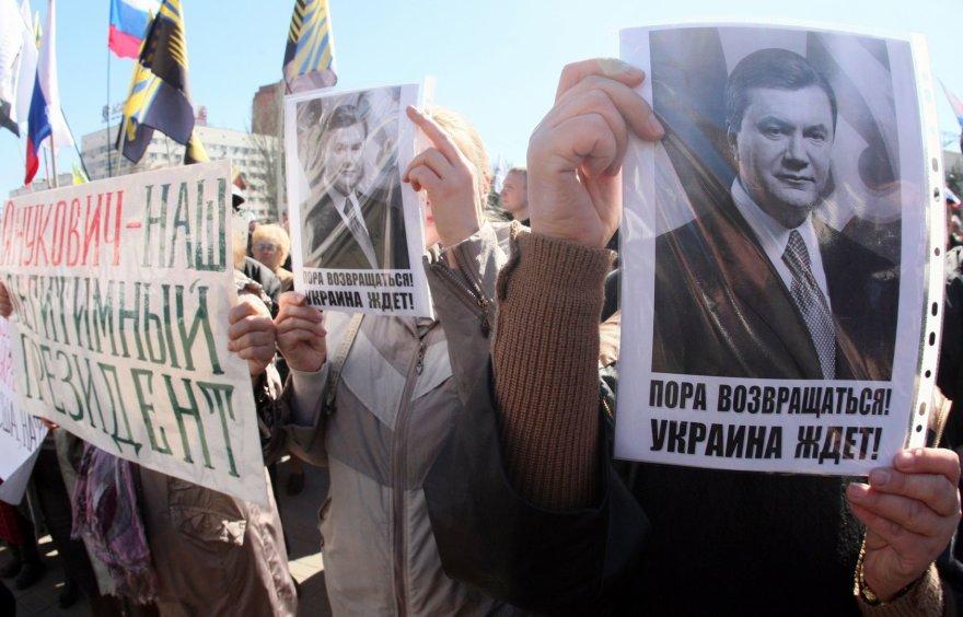Donecke protestuotojai kvietė sugrįžti V.Janukovyčių