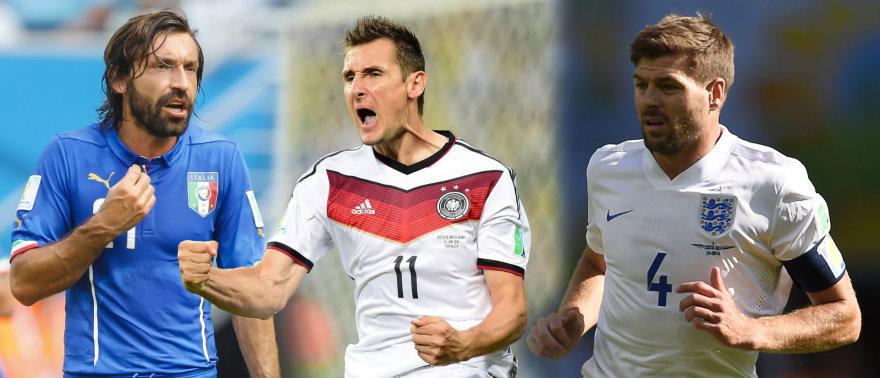 Andrea Pirlo, Miroslavas Klose ir Stevenas Gerrardas