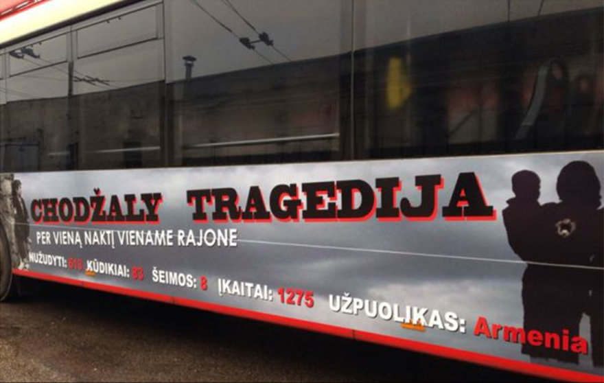 Azerbaidžano ambasados apmokėta reklama ant troleibusų