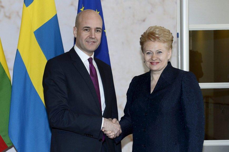 Švedijos ministras pirmininkas Fredrikas Reinfeldtas ir Lietuvos prezidentė Dalia Grybauskaitė