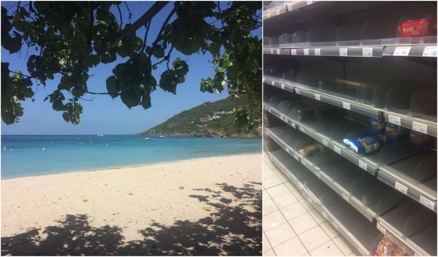 Nors jūra rami ir dangus giedras, vietiniai šluoja salos parduotuvių lentynas