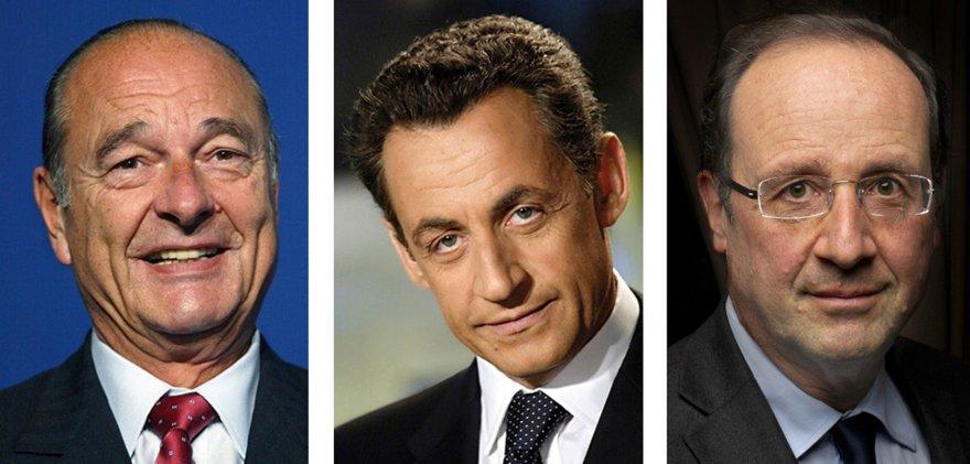 Prancūzijos prezidentai Jacques'as Chiracas, Nicolas Sarkozy ir Francois Hollande'as