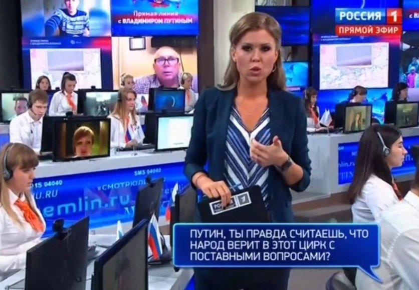 V.Putinui SMS žinutėmis užduota aštrių klausimų, bet paaiškėjo, kad jie buvo surežisuoti