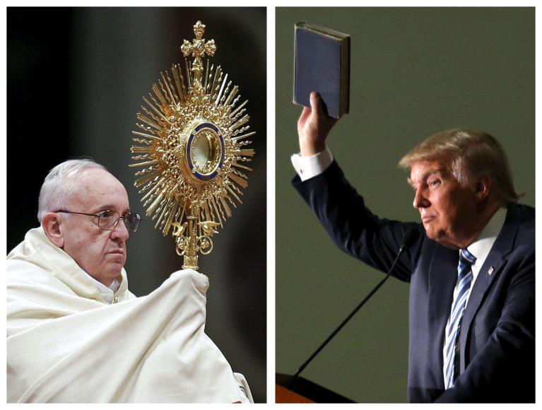 """Popiežius Donaldą Trumpą yra pavadinęs """"ne krikščionimi"""" už jo pažiūras į atjautą migrantams"""