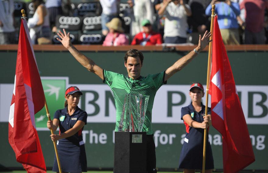 """Rogeris Federeris """"BNP Paribas Open"""" finale nugalėjo Staną Wawrinką"""