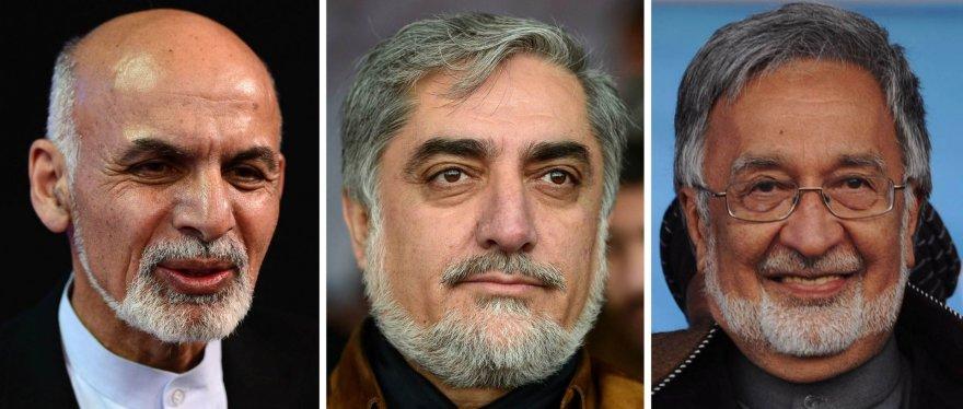 Kandidatai į Afganistano prezidento postą (iš kairės): Asharafas Ghani, Abdullah Abdullah, Zalmai Rassoulas