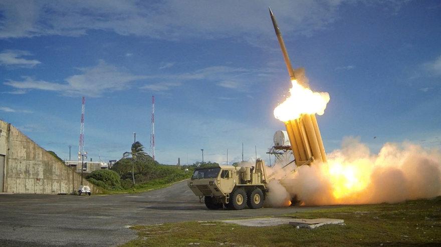 Priešraketinės gynybos sistema THAAD per bandymą