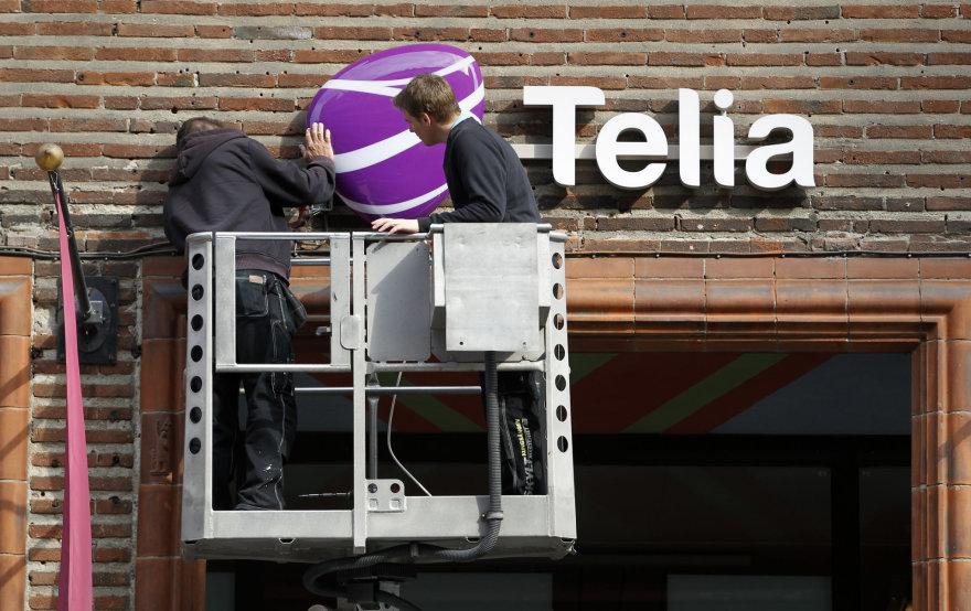 """""""TeliaSonera"""" grupės logotipas ant parduotuvės Stokholme"""