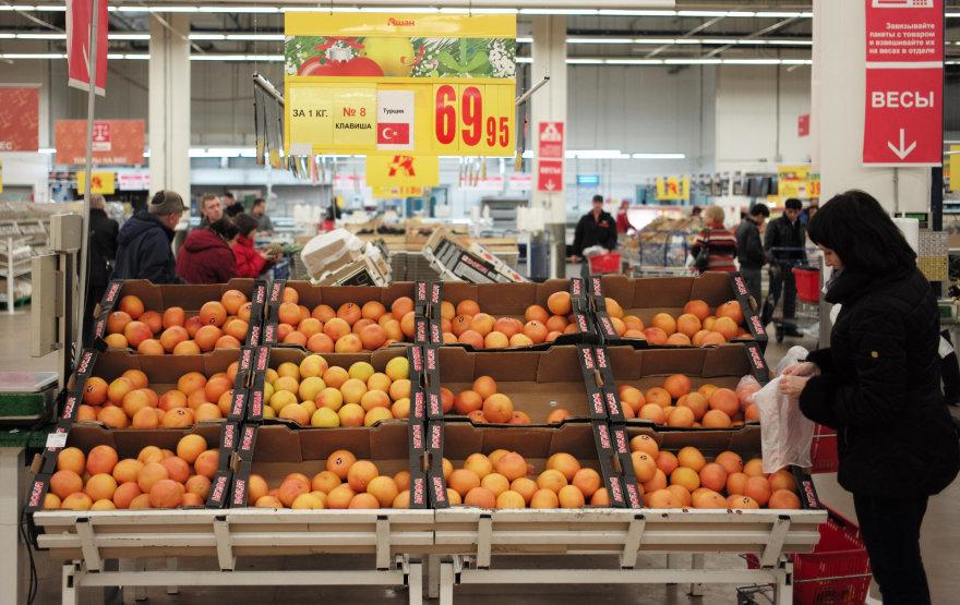 Turkiški citrusiniai vaisiai Maskvos prekybos centre