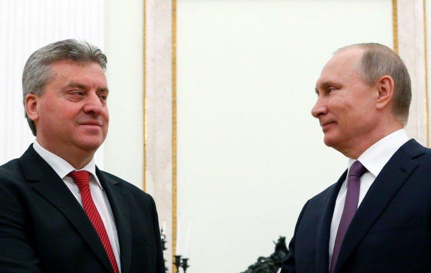 Makedonijos prezidentas Gjorge Ivanovas ir Rusijos prezidentas Vladimiras Putinas