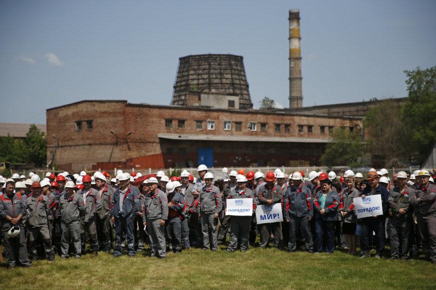 Mariupolio plieno gamyklos darbuotojų streikas prieš prorusiškus teroristus