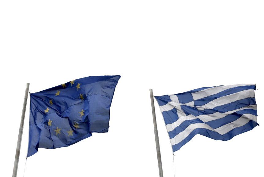 Graikijos ir ES vėliavos Atėnuose