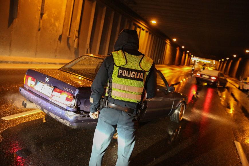 Vilniaus kelių policijos naktinis reidas sostinės gatvėse