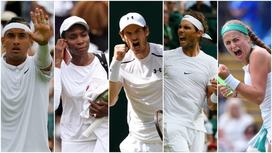Nickas Kyrgiosas, Venus Williams, Andy Murray, Rafaelis Nadalis ir Jelena Ostapenko