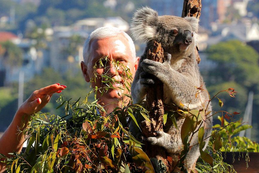 Mike'as Pence'as susipažino su Australijos gyvūnais