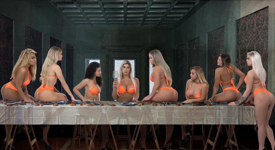 """""""Mis Bumbum"""" dalyvių fotosesija, kurią įkvėpė Leonardo da Vinci freską """"Paskutinė vakarienė"""""""