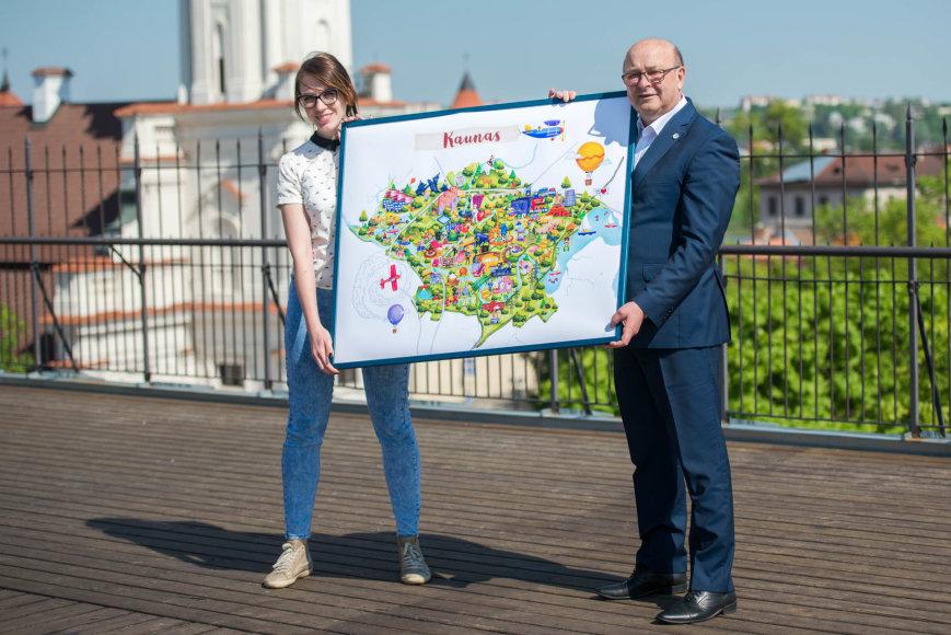 Eglės Majauskaitės sukurtas šiuolaikinio Kauno žemėlapis