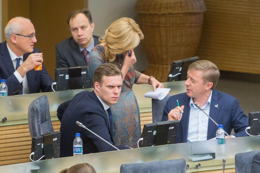 Gabrielius Landsbergis ir Ramūnas Karbauskis