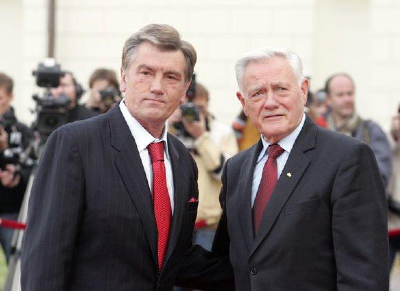 Ukrainos prezidentas Viktoras Juščenka ir Lietuvos Respublikos prezidentas Valdas Adamkus