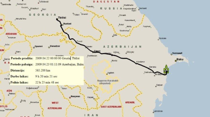 V.Miliaus balandžio 22 d. maršrutas