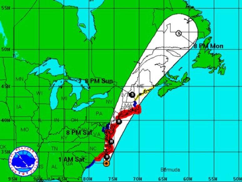 Uraganas Irena artėja prie JAV krantų