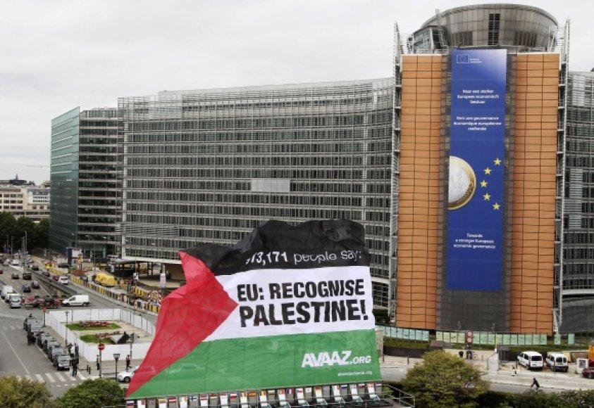 Palestinos vėliava Briuselyje
