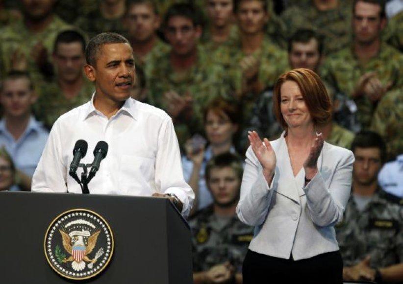 JAV prezidentas Barackas Obama ir Australijos premjerė Julia Gillard