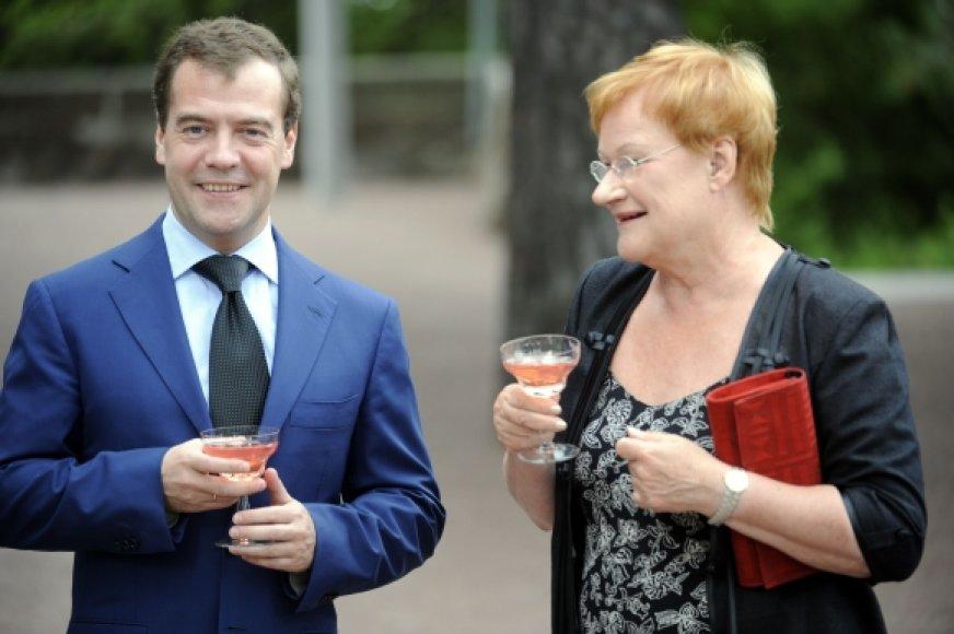 Dmitrijus Medvedevas ir Tarja Halonen