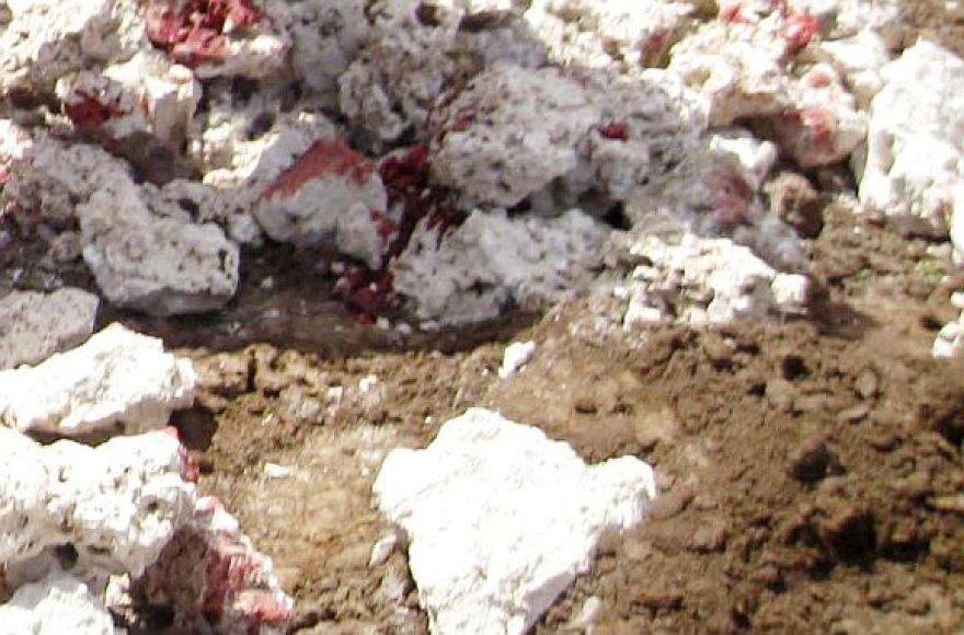 Kruvini akmenys, kuriais buvo užmėtytas žmogus