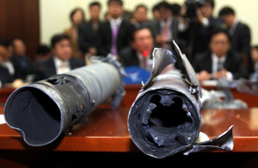 Šiaurės Korėjos iššautų sviedinių liekanos