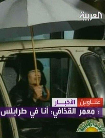 Tokį Muamarą Kadhafi per televiziją pirmadienio vakarą pamatė jo tautiečiai.