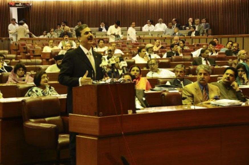 Yousufas Raza Gilani kalba Pakistano parlamente.