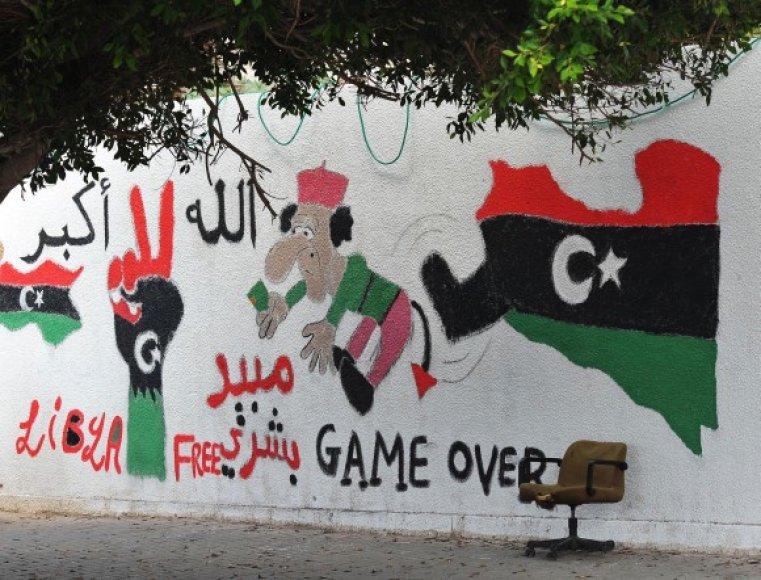 Sukilėlių piešinys ant sienos Tripolyje