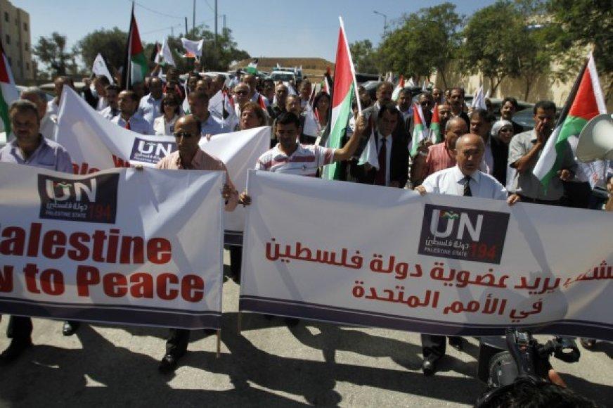 Palestiniečiai siekia, kad jų kuriama valstybė taptų pilnateise Jungtinių Tautų nare.