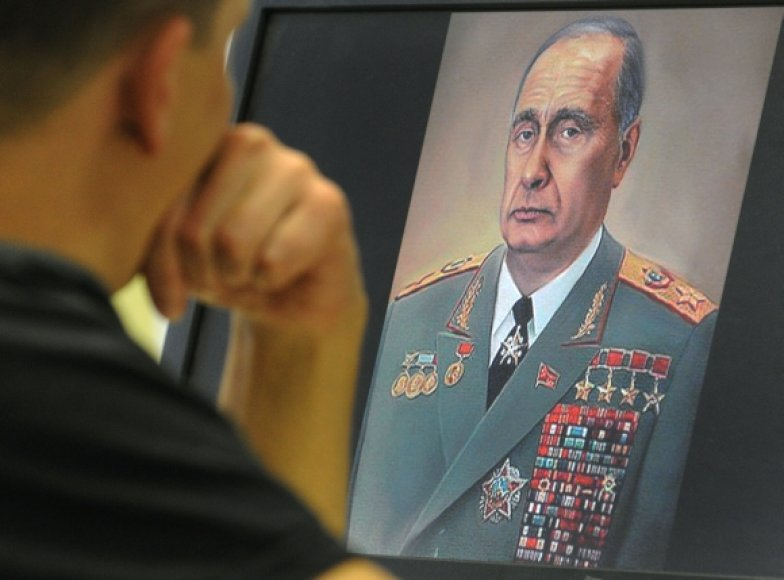 Vladimiro Putino karikatūra, kurioje jis vaizduojamas kaip buvęs SSRS lyderis Leonidas Brežnevas