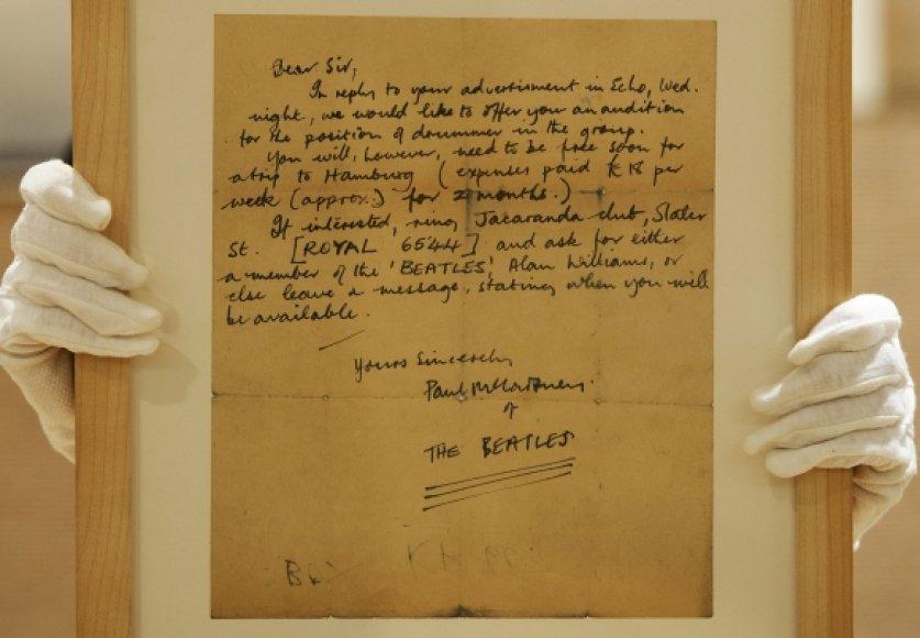 Aukcione parduotas bitlų laiškas