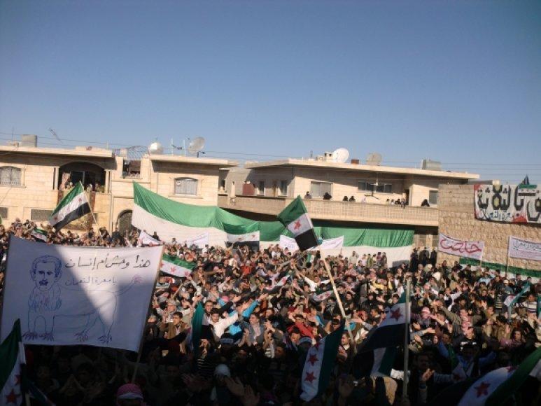 Protestuotojai prieš Basharo al Assado režimą