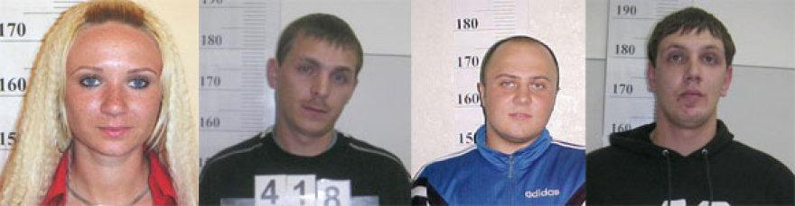 Ieškomi įtariamieji (iš kairės): Deimantė Dubinienė, Deividas Dubinas, Paulius Genys, Vidas Stočkus