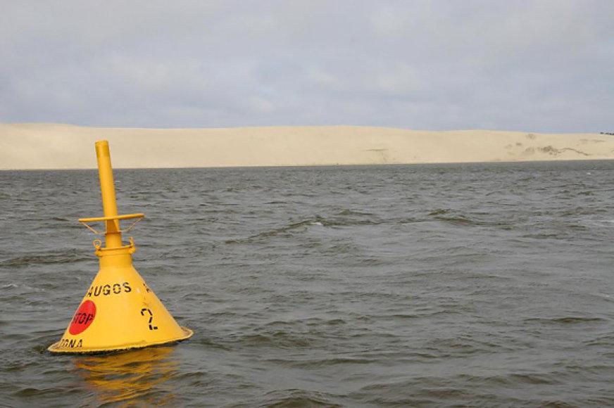 Valstybės sieną žymintis plūduras Kuršių mariose