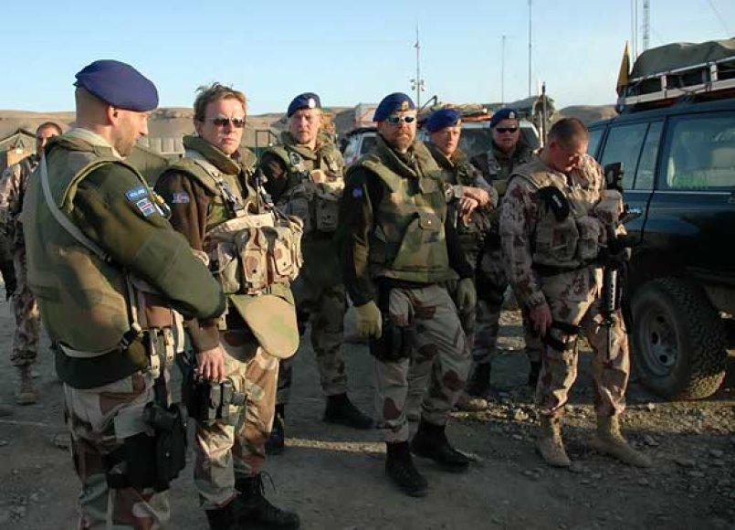 Islandijos ir Lietuvos kariai stovykloje Čagčarane