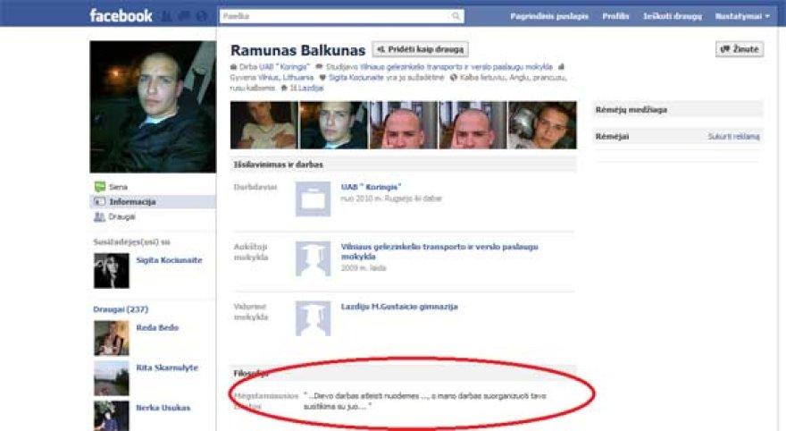 """Ramūno Balkūno anketa """"facebook"""""""
