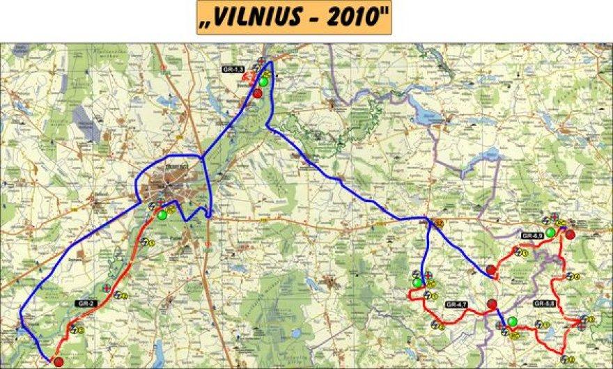 """Ralio """"Vilnius 2010"""" žemėlapis"""
