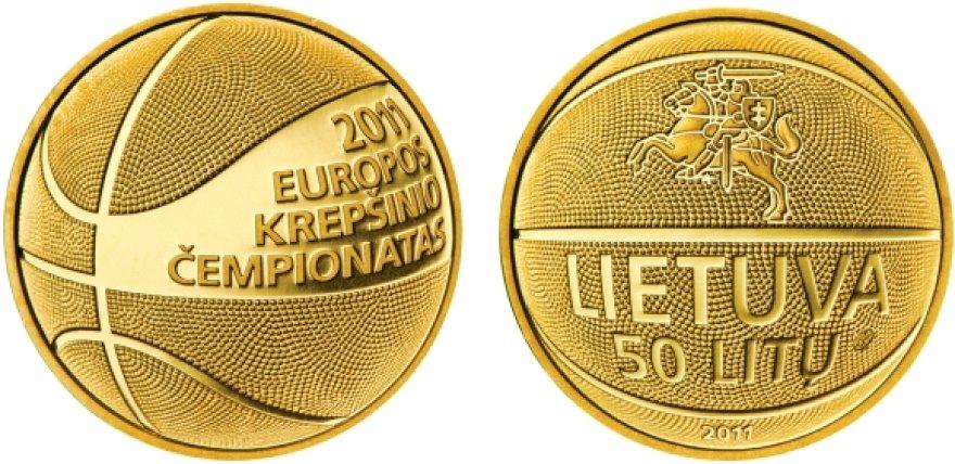 Lietuvos vyrų rinktinę Lietuvos bankas apdovanojo 50 litų kolekcinėmis auksinėmis monetomis.