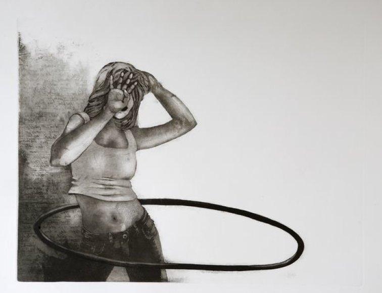 """""""Nutolusi diena Hula hoop"""" (akvatinta, 2011)"""