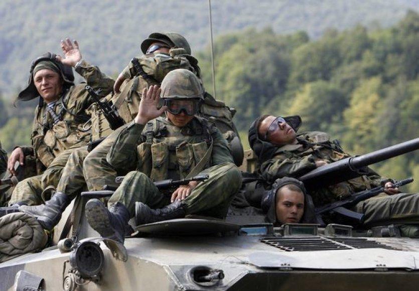 Rusijos kariai traukiasi iš Gruzijos.
