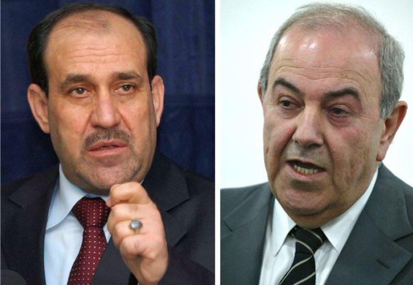 N.al-Maliki (kairėje) ir I.Allawi