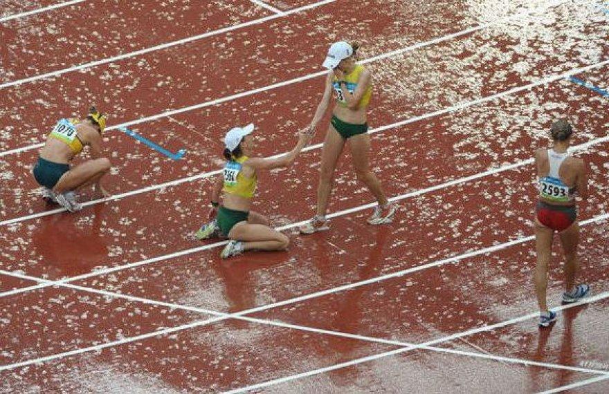 Sonata Milušauskaitė ir Kristina Saltanovič po finišo Pekino olimpinėse žaidynėse