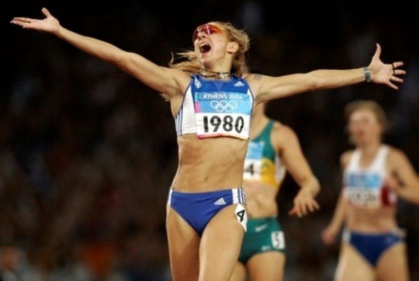 Fani Halkia pergalingas finišas Atėnuose 2004